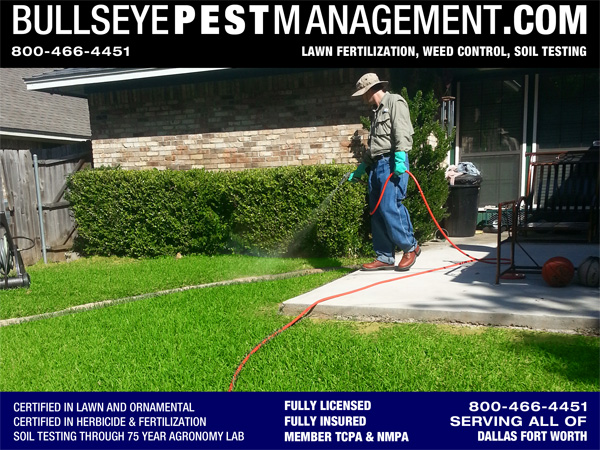 Bullseye Pest Management Performs Lawn Fertilization, Weed Control and Soil Testing in the Dallas Fort Worth Metroplex.