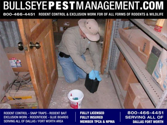 Rodent Bait Station maintenance in Red Oak Texas by Bullseye Pest Management.