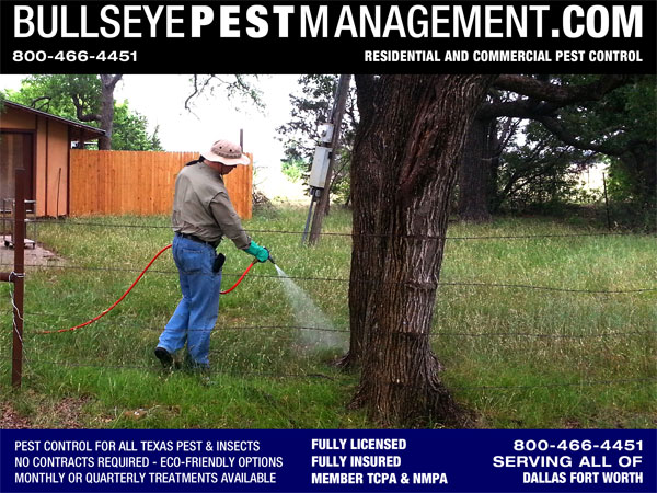 Bullseye Pest Management in Arlington Texas serves all of Dallas Fort Worth and is shown here serving Pest Control on a ranch outside of Mineral Wells Texas