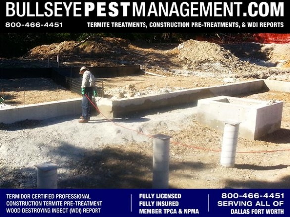 Termite Pre-Treatment of New Home Construction by Bullseye Pest Management serving Dallas Fort Worth Texas and all surrounding Cities call now at 800-466-4451