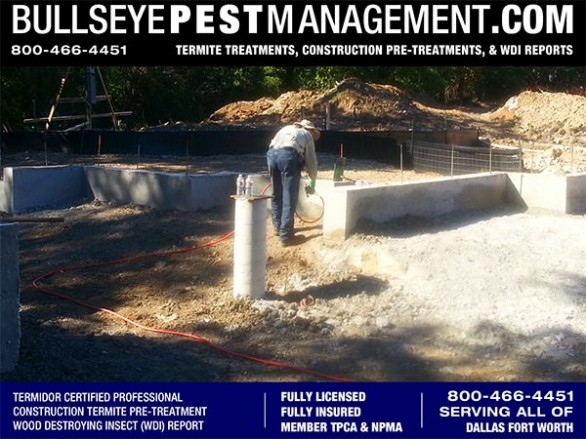 Termite Pre-Treatment Dallas Texas of New Home Construction by Bullseye Pest Management 800-466-4451