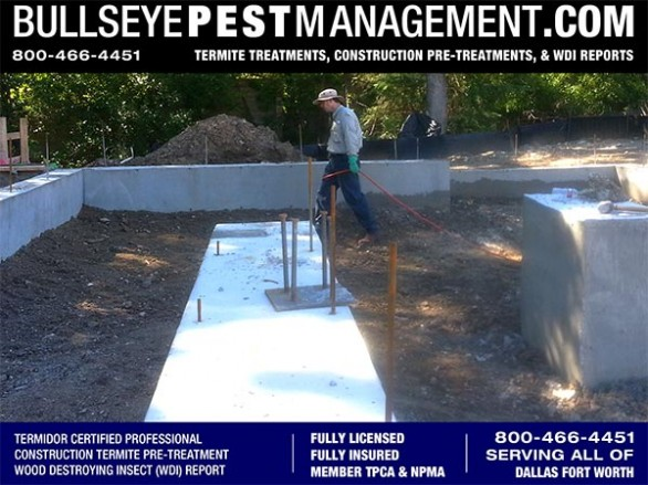 Termite Pre-Treatment of New Dallas Home Construction by Bullseye Pest of Arlington serving all of Dallas Fort Worth Texas 800-466-4451