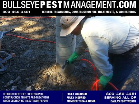 Termite Pre-Treatment spraying soil and concrete of New Home Construction by Bullseye Pest Management serving all of Dallas Fort Worth Texas and surrounding areas call 800-466-4451