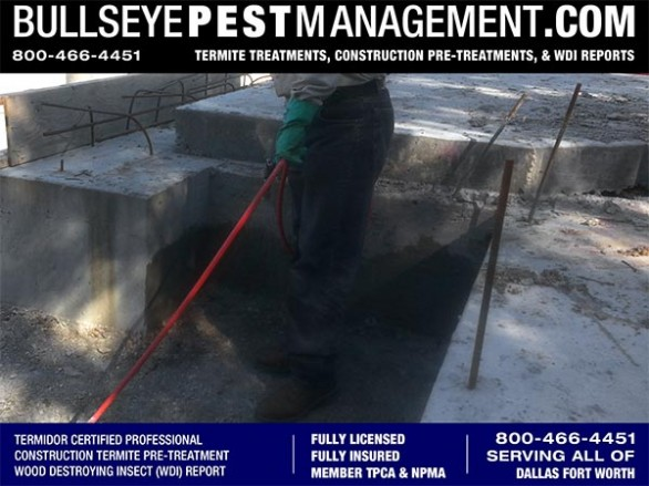 Termite Pre-Treatment of New Home Construction Serviced and Warrantied by Bullseye Pest Management serving Dallas Fort Worth Texas 800-466-4451