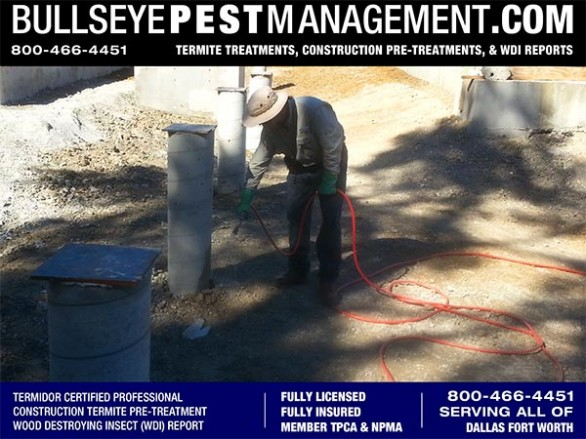 Termite Pre-Treatment during Construction of New Home by Bullseye Pest Management serving Dallas Fort Worth Texas 800-466-4451