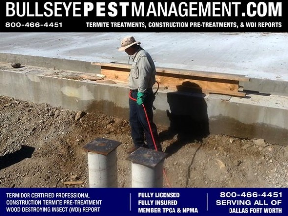 Termite Pre-Treat of New Home Construction and Commercial Construction by Bullseye Pest Management DFW Texas 800-466-4451