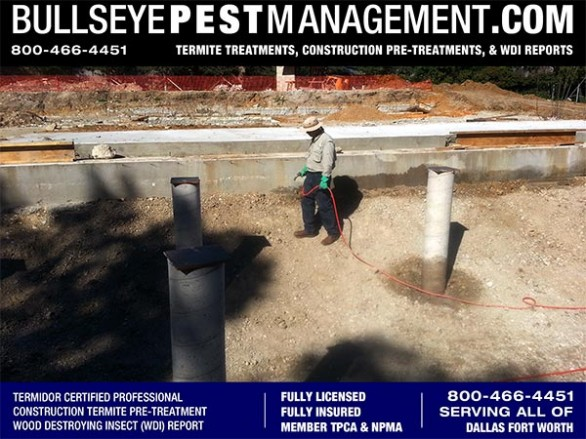 Termite Pre-Treat of New Home Construction by Bullseye Pest Management Independently Owned and Operated by Certified Applicator Steve Moseley in DFW Texas 800-466-4451