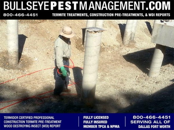 Termite Pre-Treat of New Home Construction by Bullseye Pest Management of Arlington Texas, Home of the Cowboys 800-466-4451