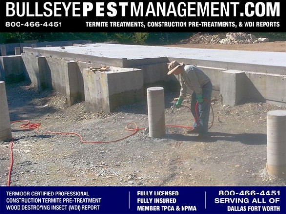 Termite Pre-Treatment of New Homes in Dallas by Bullseye Pest Management of Arlington 800-466-4451