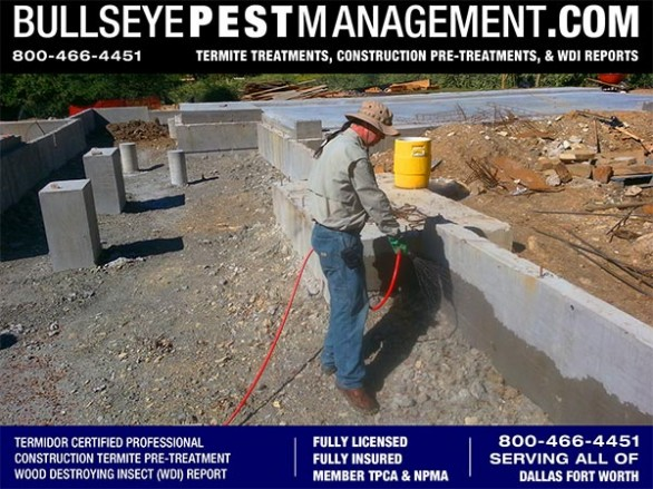 Termite Pre-Treatment of New Home Services for Builders and Construction Companies in Dallas Fort Worth by Bullseye Pest Management of Arlington 800-466-4451