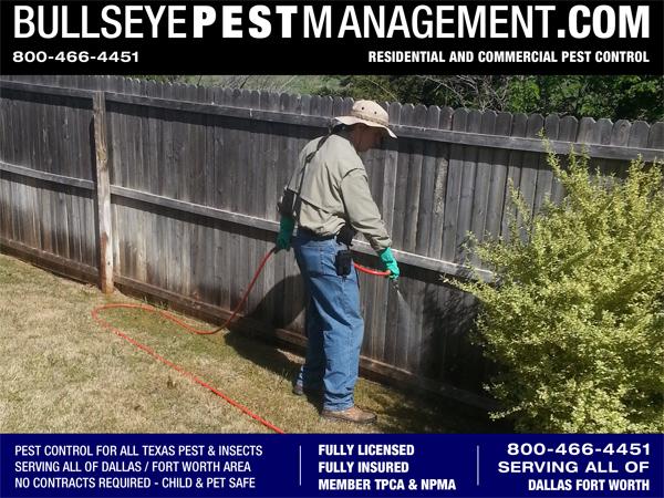 Bullseye Pest Management Owner Operator Steve Moseley Spraying Perimeter Pest Control Treatment