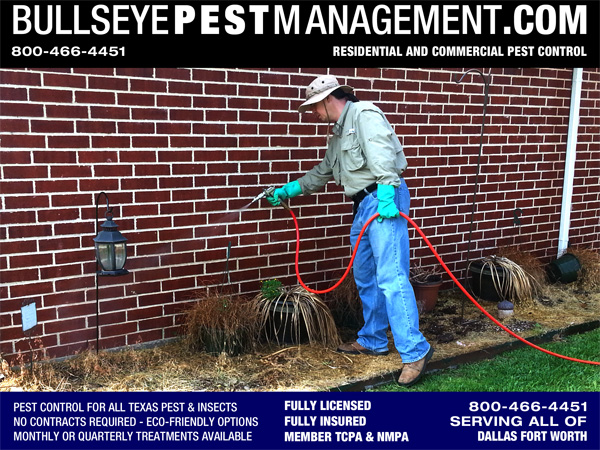 Bullseye Pest Management Owner Operator Steve Moseley Performs Pest Control Treatment in Mansfield Texas