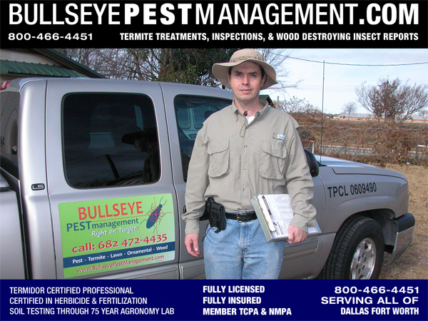 Bullseye Pest Management Owner Steve Moseley serving Frisco TX and all of Dallas Fort Worth.
