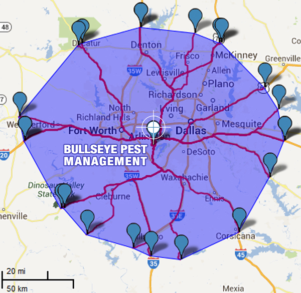 Bullseye Pest Management Bee Removal Service Area