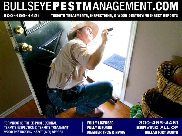 Wood Destroying Insect (WDI) Inspection and Reports performed by Bullseye Pest Management in all Dallas Fort Worth and surrounding Cities.