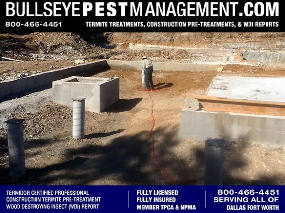 Termite Pre-Treatment of New Home Construction by Bullseye Pest Management DFW Texas 800-466-4451