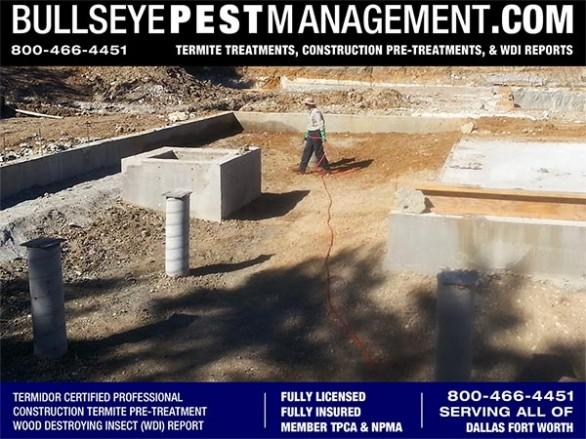 Termite Pre-Treatment of New Home Construction by Certified Applicator and Owner of Bullseye Pest Management DFW Texas 800-466-4451