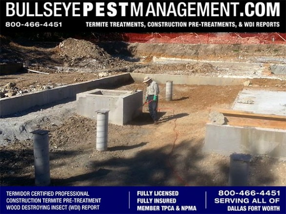 Termite Pre-Treatment of New Home Construction by Bullseye Pest Management Owner / Operator Steve Moseley in DFW Texas 800-466-4451