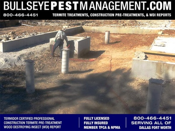 Termite Pre-Treatment of New Home Construction by Bullseye Pest Management serving Dallas Fort Worth Texas 800-466-4451