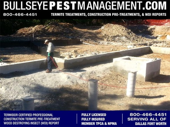 Termite Pre-Treatment of New Homes and Commercial Construction by Bullseye Pest Management serving Dallas Fort Worth Texas 800-466-4451