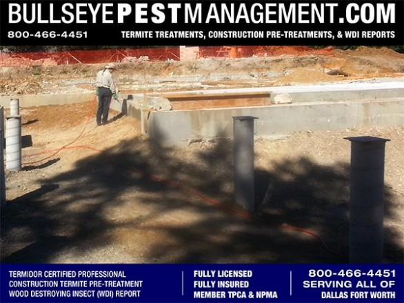 Termite Pre-Treatment of New Home Construction by Bullseye Pest Management serving all of Dallas Fort Worth 800-466-4451
