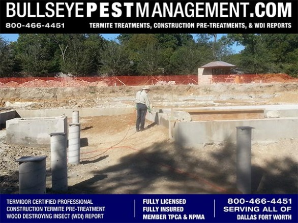 Termite Pre-Treatment of New Home Construction in Dallas Texas by Bullseye Pest Management serving all DFW 800-466-4451