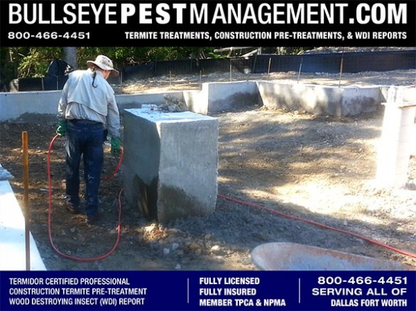 Termite Pre-Treatment Services of New Home Construction by Bullseye Pest Management for all Dallas Fort Worth Texas 800-466-4451