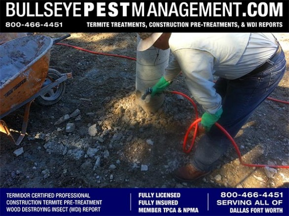 Termite Pre-Treatment by Certified Applicator Steve Moseley of New Home Construction by Bullseye Pest Management serving Dallas Fort Worth Texas 800-466-4451