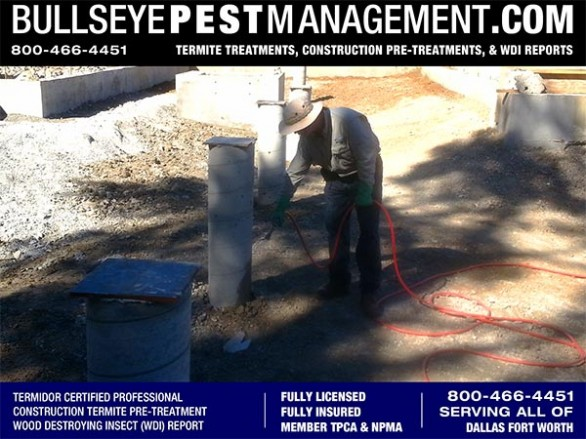 Termite Pre-Treatment of New Home Construction by Bullseye Pest Management owner Steve Moseley a Phantom Certified Professional serving Dallas Fort Worth Texas 800-466-4451