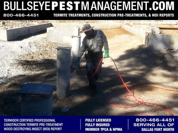 Termite Pre-Treatment of New Home Construction by Bullseye Pest Management owner Steve Moseley a Termidor Certified Professional serving Dallas Fort Worth Texas 800-466-4451