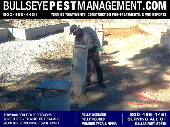 Termite Pre-Treatment of New Home Construction by Bullseye Pest Management owner Steve Moseley a Purdue Certified Professional serving Dallas Fort Worth Texas 800-466-4451