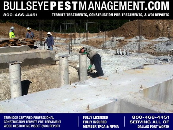 Termite Pre-Treatment of New Home Construction by Bullseye Pest Management owner Steve Moseley a BASF Certified Professional serving Dallas Fort Worth Texas 800-466-4451