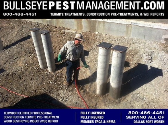 Termite Pre-Treat of New Home Construction by Bullseye Pest Management serving all of DFW Texas 800-466-4451