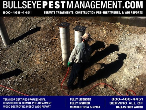 Termite Pre-Treat of New Home Construction by Bullseye Pest Management Independently Owned and Operated in DFW Texas 800-466-4451