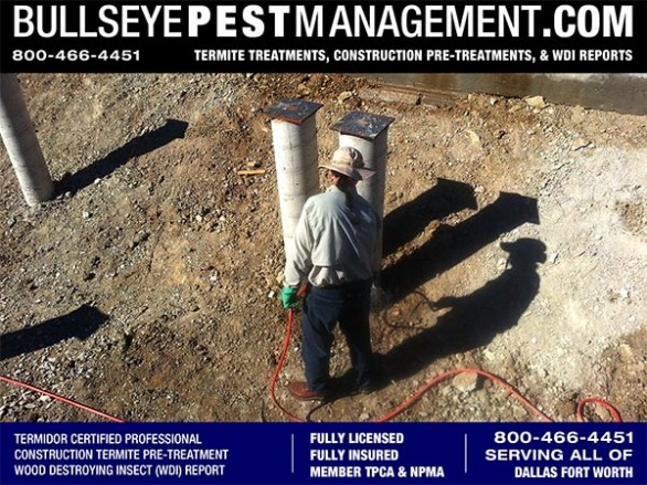 Termite Pre-Treat of New Home Construction by Bullseye Pest Management Independently Owned and Operated serving all of DFW Texas 800-466-4451