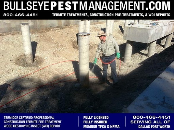 Termite Pre-Treat of New Home Construction by Bullseye Pest Management of Arlington Texas, Home of the Rangers 800-466-4451