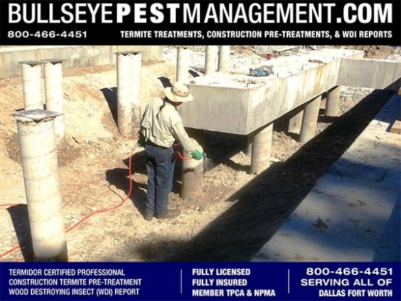 Termite Pre-Treatment of New Homes in Dallas Fort Worth by Bullseye Pest Management of Arlington 800-466-4451