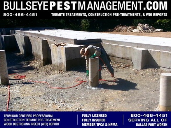 Termite Pre-Treat of New Homes in Fort Worth by Bullseye Pest Management of Arlington 800-466-4451