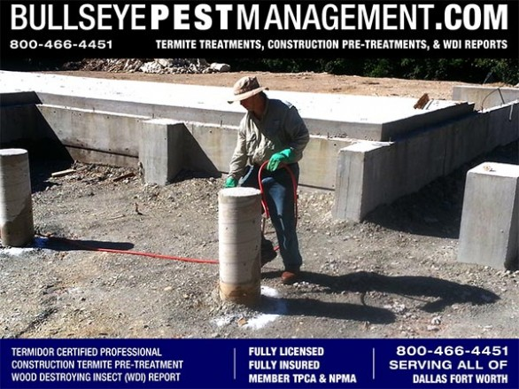 Termite Pre-Treatment of New Homes in Arlington by Bullseye Pest Management of Arlington 800-466-4451