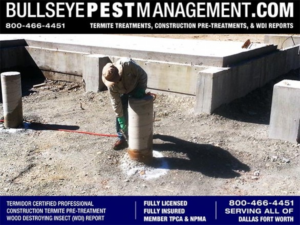 Termite Pre-Treatment of New Homes in Plano by Bullseye Pest Management of Arlington 800-466-4451
