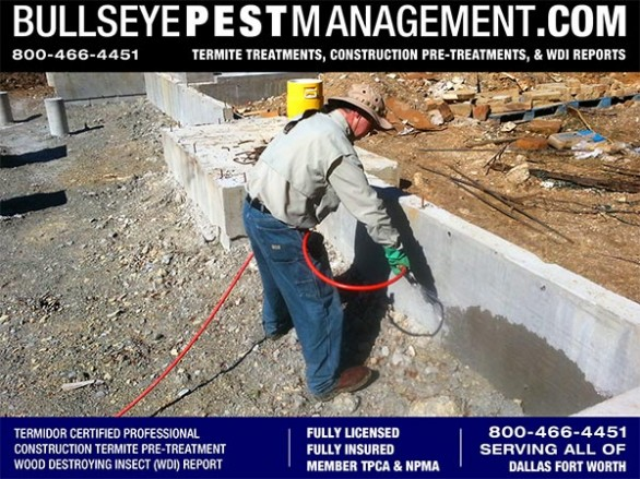 Termite Pre-Treatment of New Home Services for Builders in Dallas Fort Worth by Bullseye Pest Management of Arlington 800-466-4451