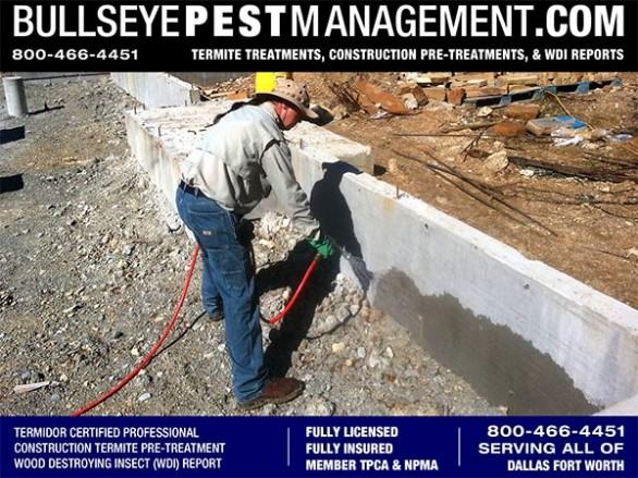 Termite Pre-Treatment of New Home Services for Builders in Fort Worth by Bullseye Pest Management of Arlington 800-466-4451
