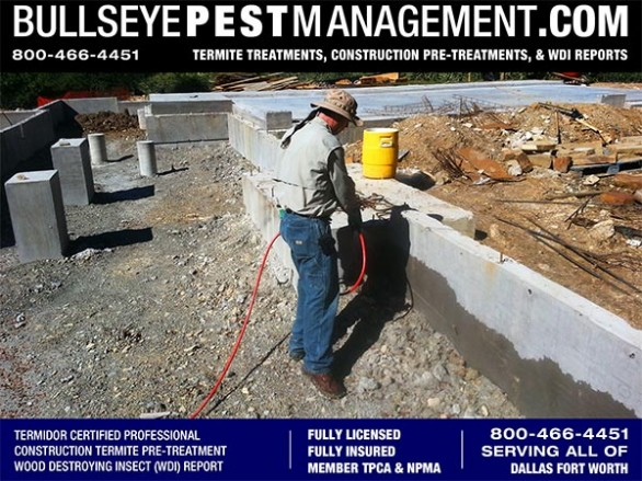 Termite Pre-Treatment of New Home Services for Builders in Arlington by Bullseye Pest Management of Arlington 800-466-4451