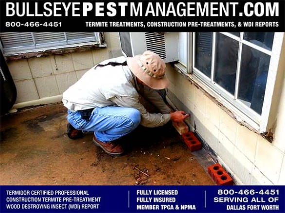 Certified Applicator and Bullseye Pest Management Owner Steve Moseley Performs Wood Destroying Insect Inspection for Termites and Other Wood Destroying Insects.